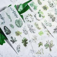 3 листа, винтажные растения, перо, дорожный штамп, клейкая бумага, наклейка, пакет, сделай сам, дневник, украшение, наклейка, альбом, скрапбукинг