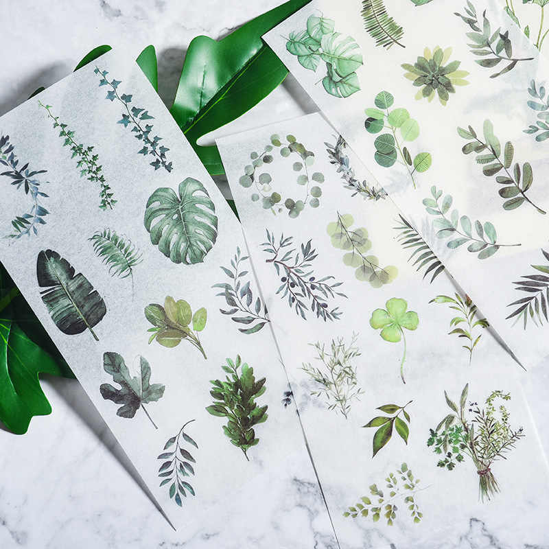 3 sheets Vintage Plants Feather Travel stamp adhesive paper sticker package DIY diary decoration sticker album scrapbooking
