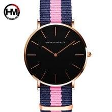 HANNH MARTIN Ultra Slim Kvinnors Quartz Watch Armband Mode Armbandsur Läder Band Dam Tjejer Presenter Relogio Feminino Black