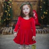 WEIXINBUY Kids Girl Dresses Long Sleeve Red Velvet Robe Enfant Fille Vestido Infantil Bowknot Party Wedding