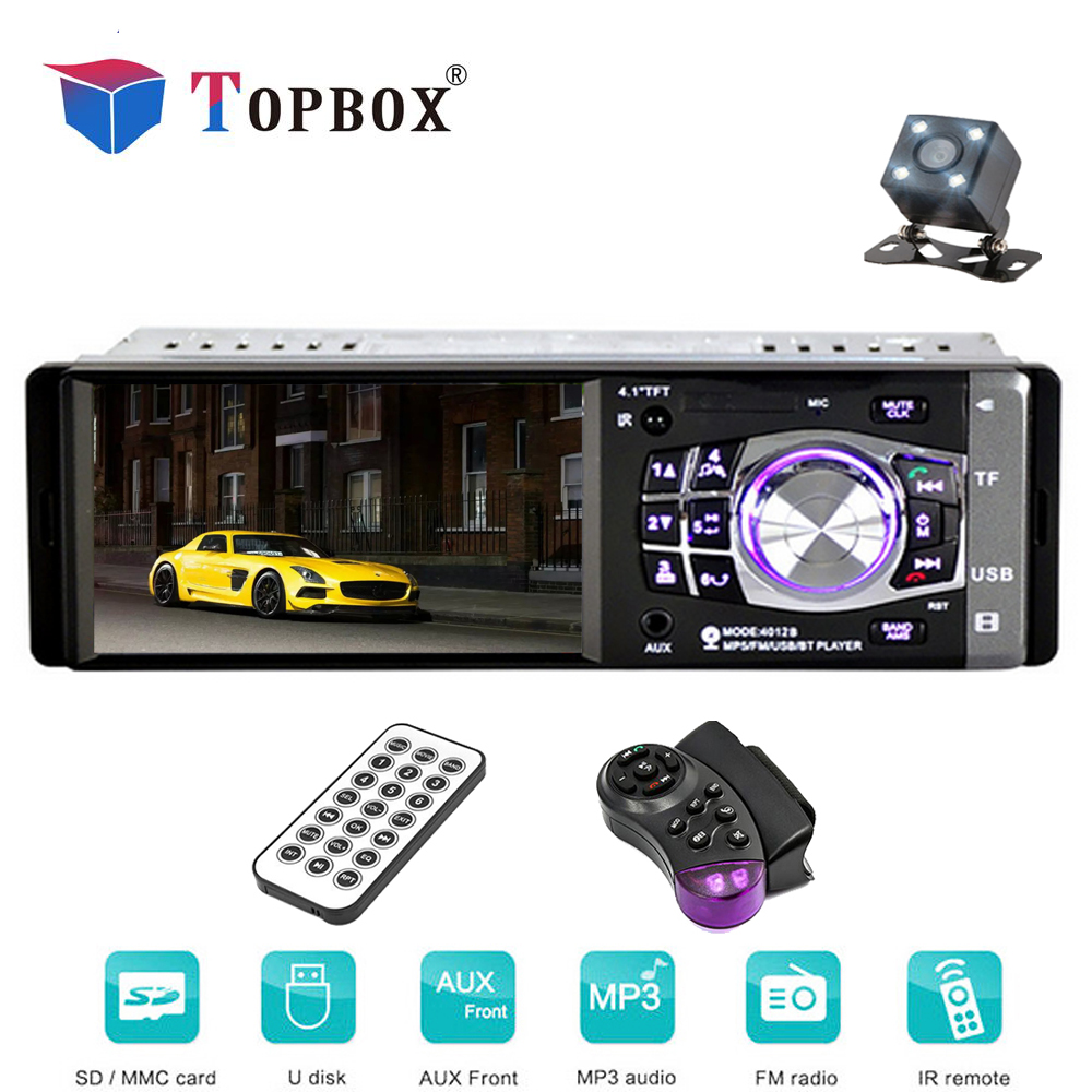 Bauletto 4012B 4.1 pollice 1 Din Car Radio Auto Audio Stereo FM Bluetooth Supporta Il Controllo Remoto Videocamera vista posteriore
