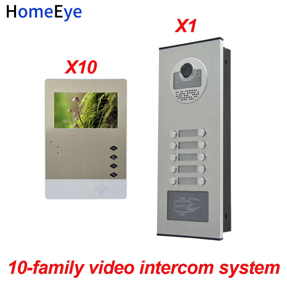 HomeEye 10 Family Door Bell Home Access Control System 4.3 LTD 4-Wire Multi-family Multi Apartments Video Phone Intercom