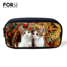 FORUDESIGNS Leaves Cute Cats Prints Cosmetic Bags Cartoon Animal Lady Make Up Travel Bags Girls Pen Bags Children Pencil Bags