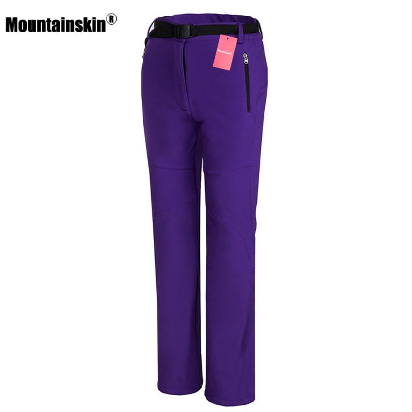 Mountainskin Women's Winter Pants Outdoor Sports Softshell Fleece Trousers Hiking Camping Trekking Female Waterproof Pants VA230