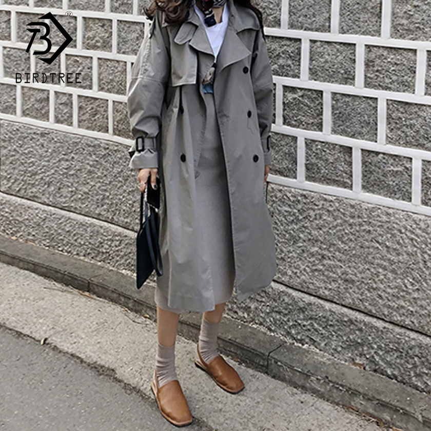 Women's 2018 New  Solid Trench Long Sleeve Turn-down Collar Double Breasted Casual  Loose Raincoat Outerwear  C87907LD
