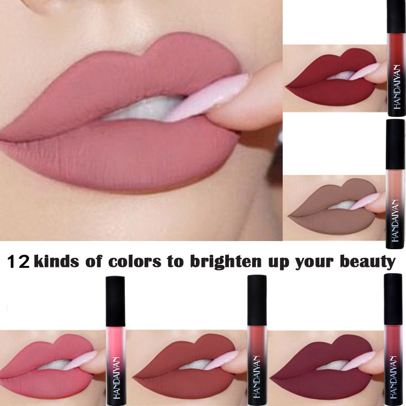 HANDAIYAN Matte Velvet Lip Gloss Non stick Matte Lipsticks Long lasting nude Liquid Lipgloss Beauty Party Nutritious Lips Makeup in Lip Gloss from Beauty Health