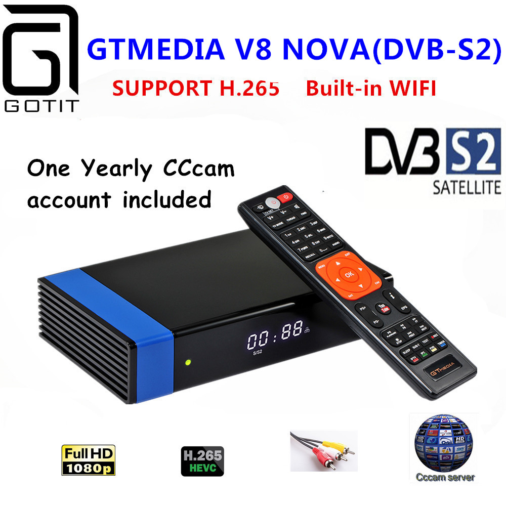 GT Media V8 Nova RCA DVB S2 Satellite font b Receiver b font H 265 built