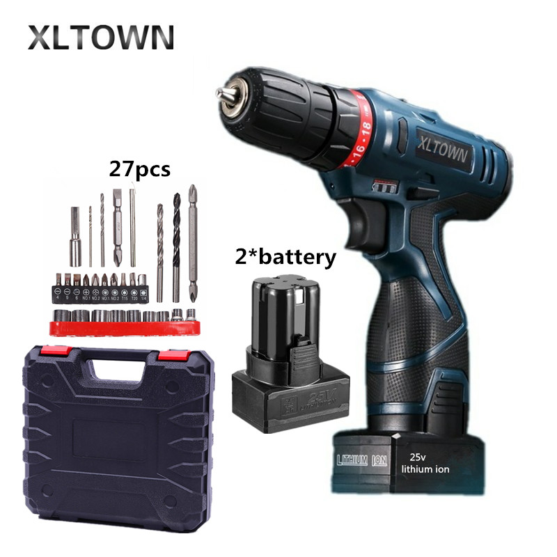 Xltown 25v two-speed 2*battery lithium battery electric screwdriver with a Plastic box packaging 27pcs drill bit electric drill xltown 25v 2000ma impact drill with bits