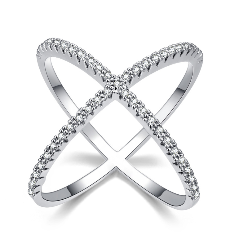 AAA+ Clear Crystals Paved X Shape Cross Channel Party Finger Ring Fashion Accessories Size 6 7 8 9 White Gold Color Bague