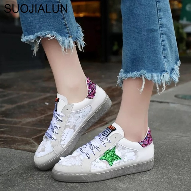 Women Flats Shoes Round Toe Lace Up Sneakers Breathable Canvas Bling Star Female  Flat Casual Shoes Letters Ribbon Platform Shoes e68357880da5
