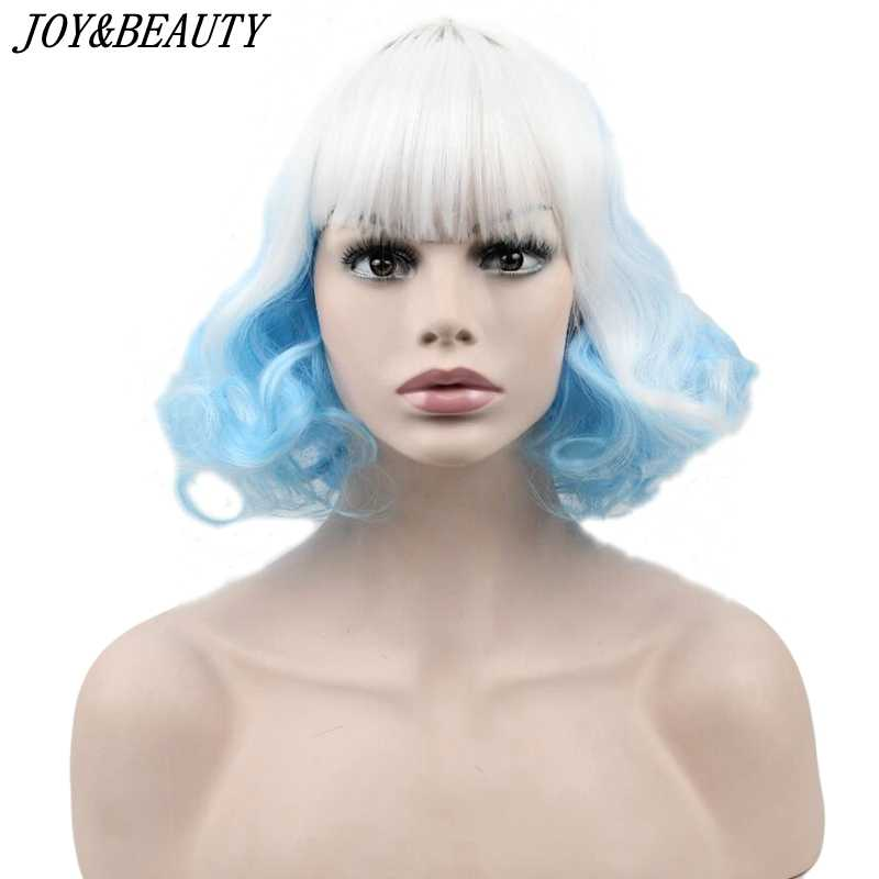 JOY&BEAUTY 20cm White Blue Mixed White Red Short Curly Synthetic Hair Cosplay Wigs For Harajuku Party Wig Heat Resistance Hair