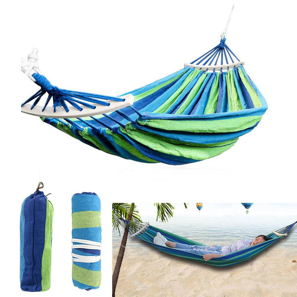 Single/Double Person Garden Hammock Portable Travel Camping Hanging Hammock Swing Chair Thicken Outdoor Camping Hammock