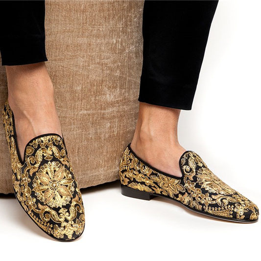 Men Wedding Shoes Gold Emebroidered Loafers Fashionable Nightclub Party Shoes Zapatos Hombre