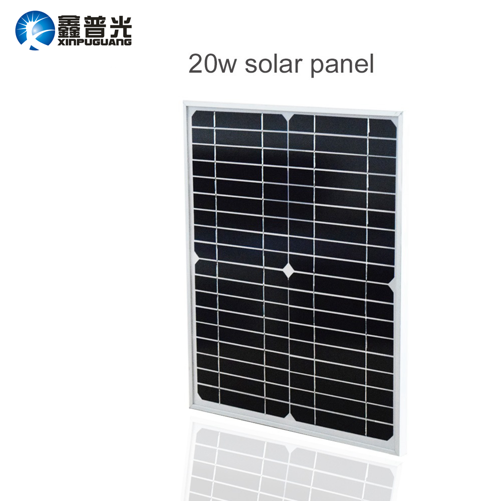 Xinpuguang Solar Panel 20W 18V Monocrystalline Module Cell System 12V DIY Kits for Toys Light Led Science Toy Experiment Outdoor