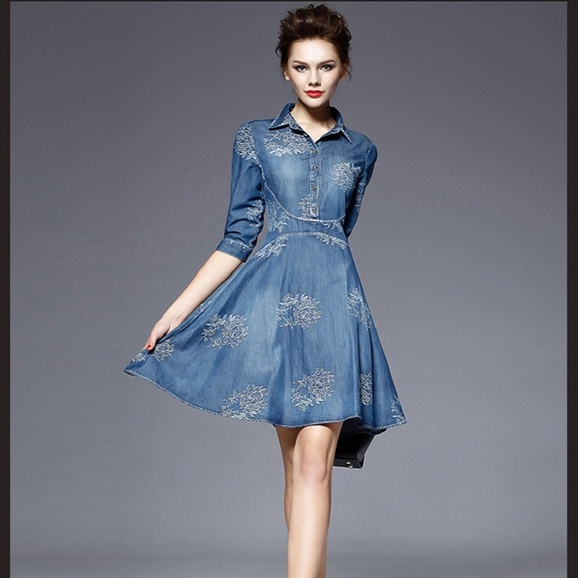 f8eebcd6827 Summer new fashion womens elegant retro denim dresses half sleeve above  knee stylish flower embroidered one-piece dress women