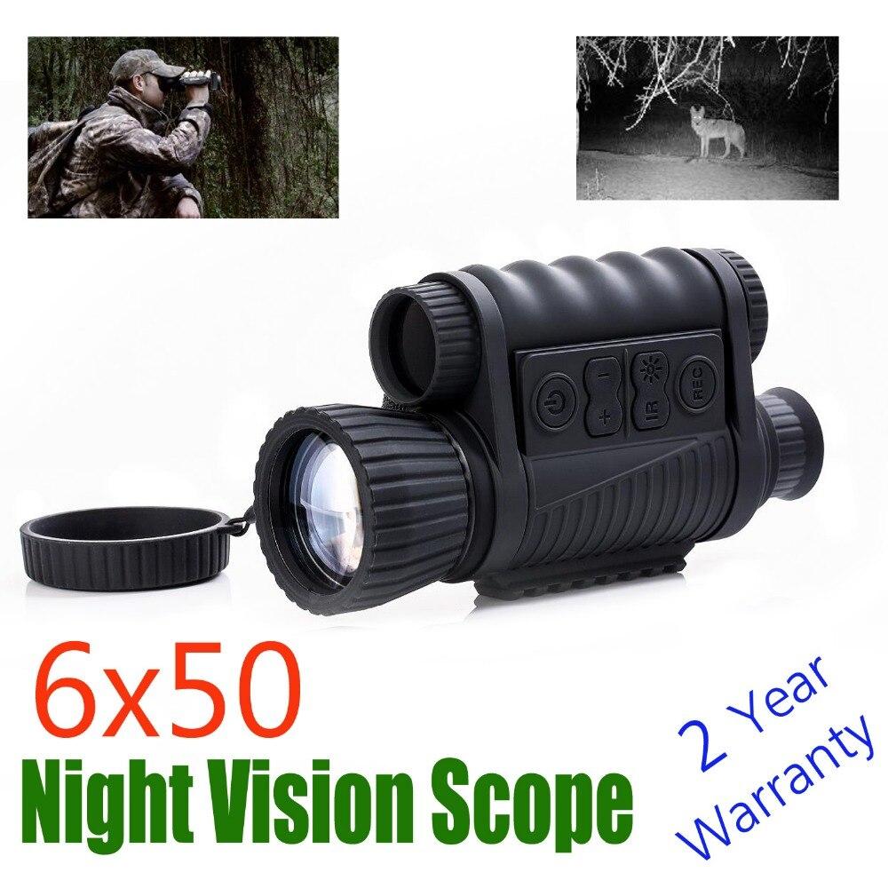 WG650 noche caza Digital infrarrojo óptico 6X50 visión nocturna Monocular 200 M Rango visión nocturna telescopio imagen y video