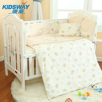 8pcs baby bed crib bedding set 100% combed cotton embroidered crib bedding bumper set with quilt,baby bedding set
