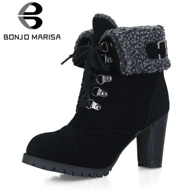 BONJOMARISA Plus Size 32-44 Fur Snow Boots Women Autumn Winter 2018 lace-up turned-over Edges 8 Cm High Heels Shoes Woman