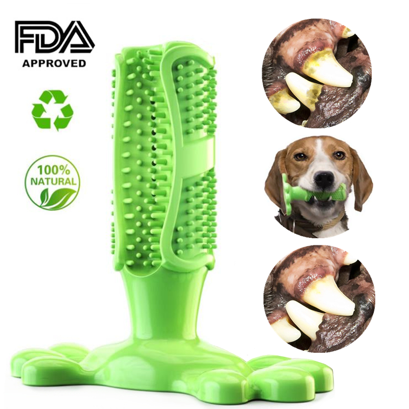 Dog Toothbrush Dog Chew Tooth Cleaner Brushing Stick Natural Rubber Doggy Puppy Dental Care Dog Chew Toys Toothbrush for Pet image