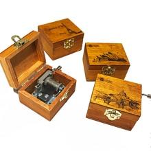 1pcs Retro Music Box Classical Wooden Handcraft Cranked Educ