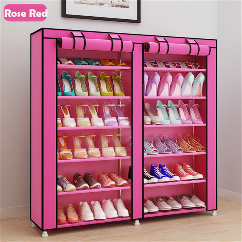 Image 2 - Large Capacity Shoes Storage Cabinet Double Rows Shoes Organizer Rack Home Furniture DIY Dust proof Shoes Shelves Space Saver-in Shoe Cabinets from Furniture