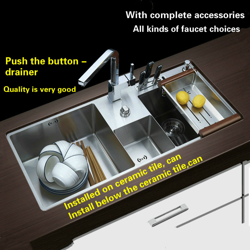 Free shipping  Hot sell standard push the button - drainer luxury kitchen manual sink double groove 304 stainless steel 96x43 CM free shipping food grade 304 stainless steel hot sell kitchen sink double trough 0 8 mm thick ordinary 78x43 cm