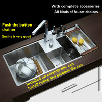 Free Shipping Hot Sell Standard Push The Button Drainer Luxury Kitchen Manual Sink Double Groove 304