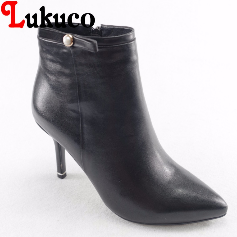 Lukuco elegant pure color women pointed toe fashion boots microfiber made butterfly-knot design high thin heel zip shoes lukuco pure color women mid calf boots microfiber made buckle design low hoof heel zip shoes with short plush inside
