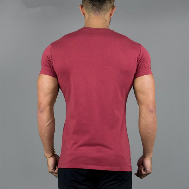New Bodybuilding and Fitness Mens Short Sleeve Cotton T-shirt Gyms ALPHALETE Print Shirt Men Muscle Tights Fitness T-shirts