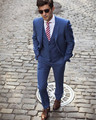 Azul Blazer Masculino Slim Fit Hombres Trajes de Boda Por Encargo Del Novio 2017 Traje Homme Traje Nuevo Esmoquin (chaqueta + pantalones + chaleco)