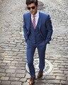 Azul Blazer Masculino Slim Fit Homens Ternos Feitos Sob Encomenda Do Casamento Do Noivo 2017 Homme Traje Terno New Tuxedo (jacket + calça + colete)