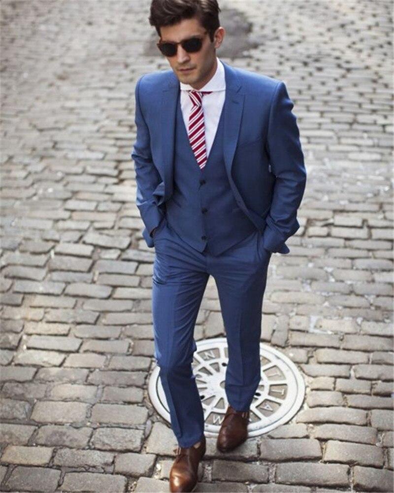 blue blazer masculino slim fit men suits custom made. Black Bedroom Furniture Sets. Home Design Ideas