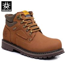 Hot Style Men Casual Leather Boots Size 38-44 Brand Fashion Man Quality Rubber Boots Ankle High Shoes Yellow Brown(China)