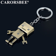 купить Men Children Accessory Cute Alloy Robot Keychain Creative Jewelry Keyrings Metal Car Key Chains bicycle motorcycle Auto Key Ring дешево