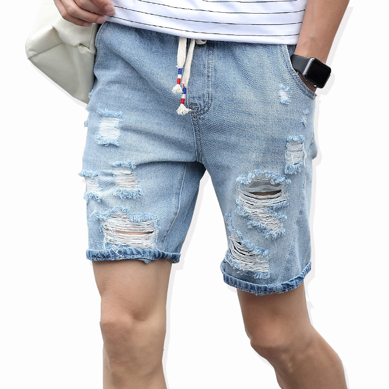 FANTUOSHI Mens Ripped Short Jeans Brand Clothing Summer 98% Cotton Breathable Tearing