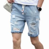 Новая мода досуг мужские рваные короткие джинсы брендовая одежда летние 98% хлопковые шорты дышащие рваные джинсовые шорты мужские