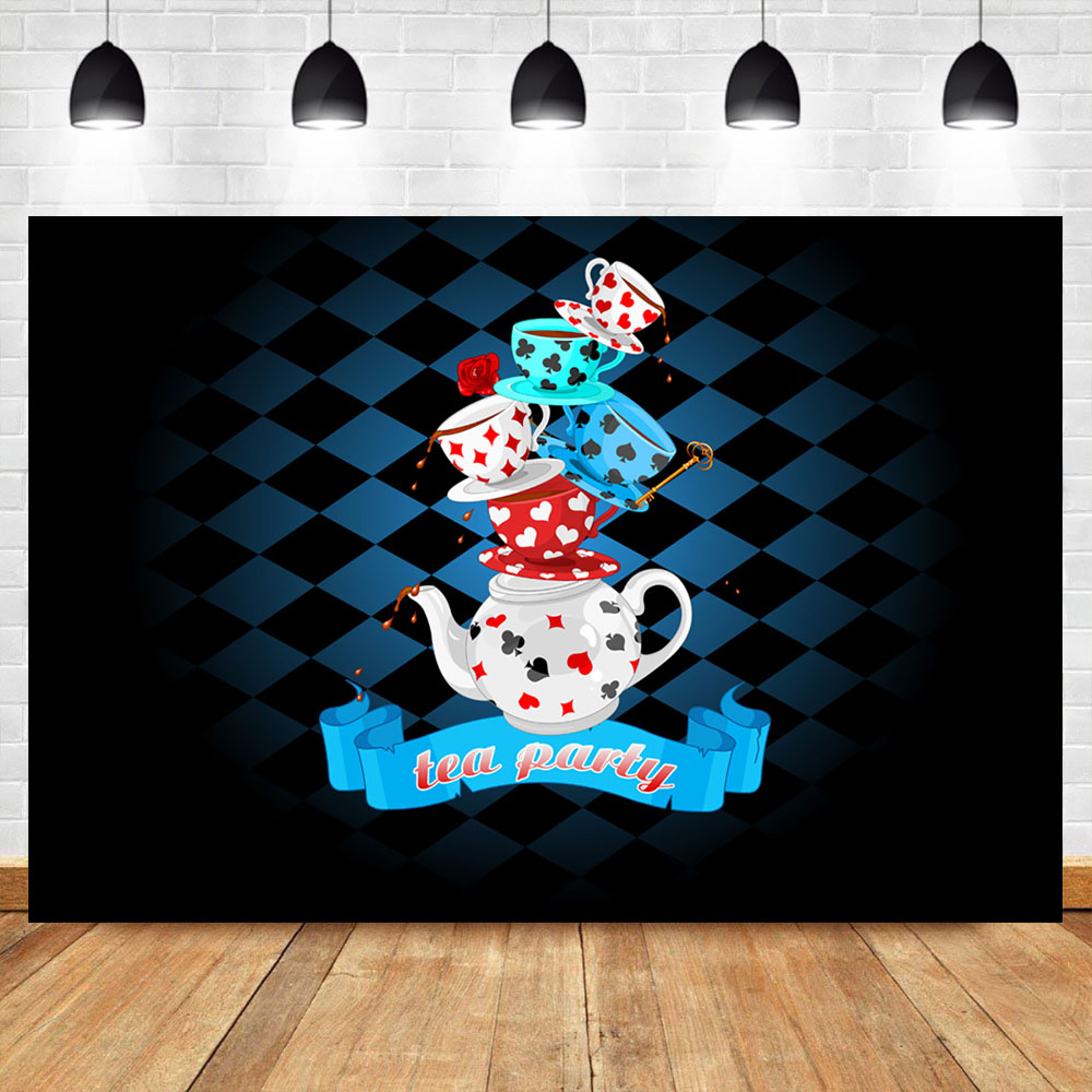 Neoback Tea Party Photography Background Blue Black Checkers Tea Cups Teapots Custom Photography Backdrops Studio Shoots in Background from Consumer Electronics