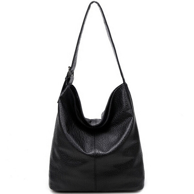 Simple Design Casual Women s Bag Soft Leather Hobo Handbag for Office Ladies  European Fashion Large Capacity Black Brown Bolsas 6b235a9a51381