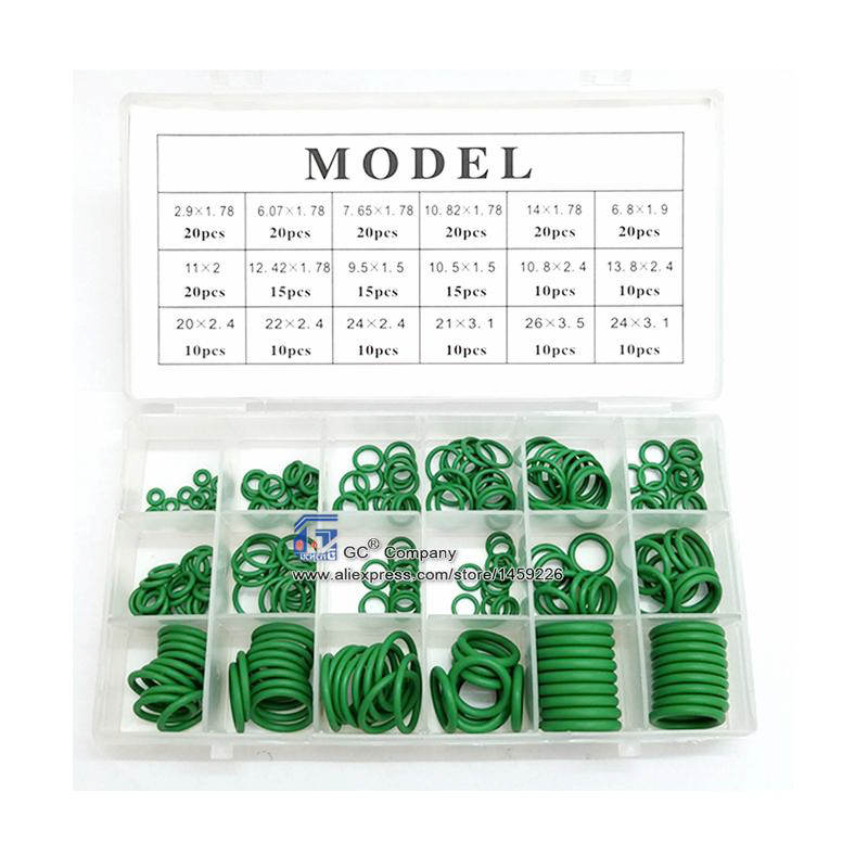 Conjunto Anel de borracha O-ring Sortimento Kit de Vedação para o Setor Automotivo A/C AC Condicionador de ar Da Tubulação Hidráulica Air Gás HVAC R134a R12 verde