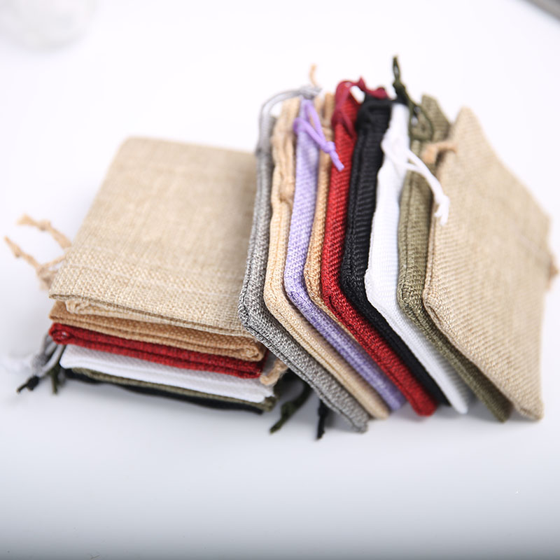 9 * 12cm Imitation Linen Bag Drawstring Gift Bag Wedding Party Crafts Linen Gift Snack Jewelry Christmas Gift Bag 20piece