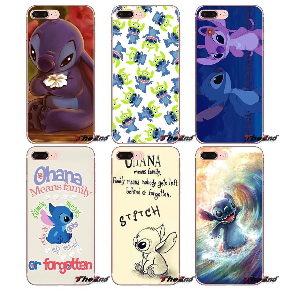 Sweet Lilo and Stitch Ohana Silicone Case For Apple iPhone X 4 4S 5 5S SE 5C 6 6S 7 8 Plus 6Plus 7plus 8plus Fundas Coque