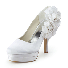 Elegant Women Pumps EP11089-2PF White Round Toe Double Platforms Handmade 3D Flower Satin Stiletto Heel Wedding Shoes