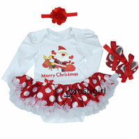 Santa Claus White Dot Baby Dress Christmas Costume Lace Romper Dress Shoes Headband Newborn Baby Girl