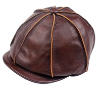 Harppihop 2019 new Real Genuine Cow Leather Hat Cap Headgear Cowhide Warm winter cotton men padding brand new baseball cap/hat
