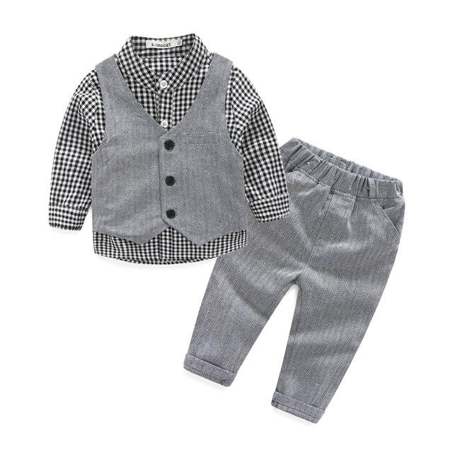 new style gentleman baby boy clothes plaid baby boy newborn wedding clothes (3pcs/set) baby clothing set
