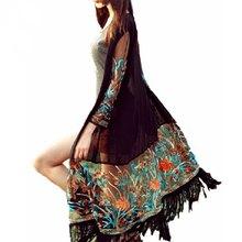 Summer Long Cardigan Blusas Women Vintage Boho Floral Tassel Beach Cover Up Tops Chiffon Blouse Shirts