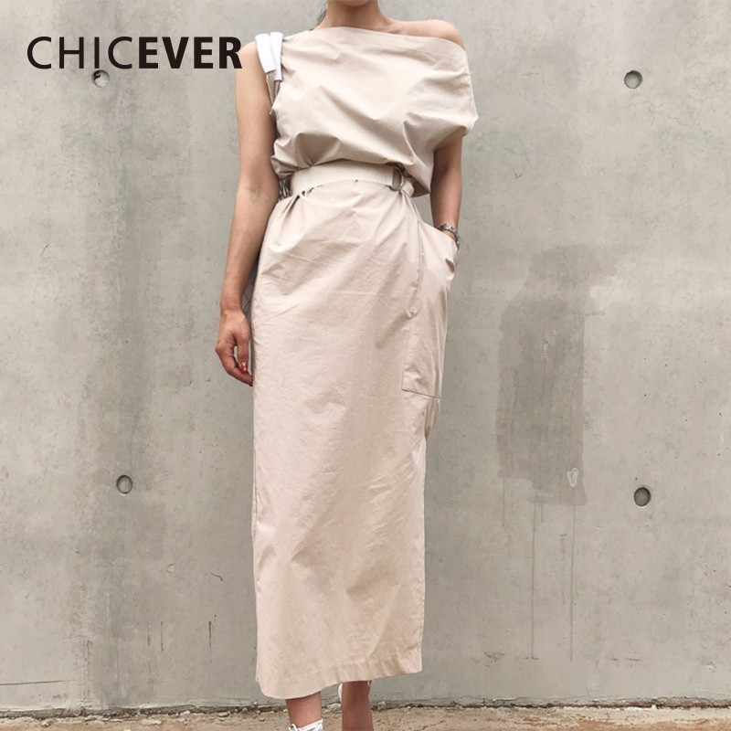CHICEVER Summer Dresses For Women Sexy Slash Neck Hem Split Big Pocket Waist Lace Up Slim Dress Female Korean Fashion Tide New