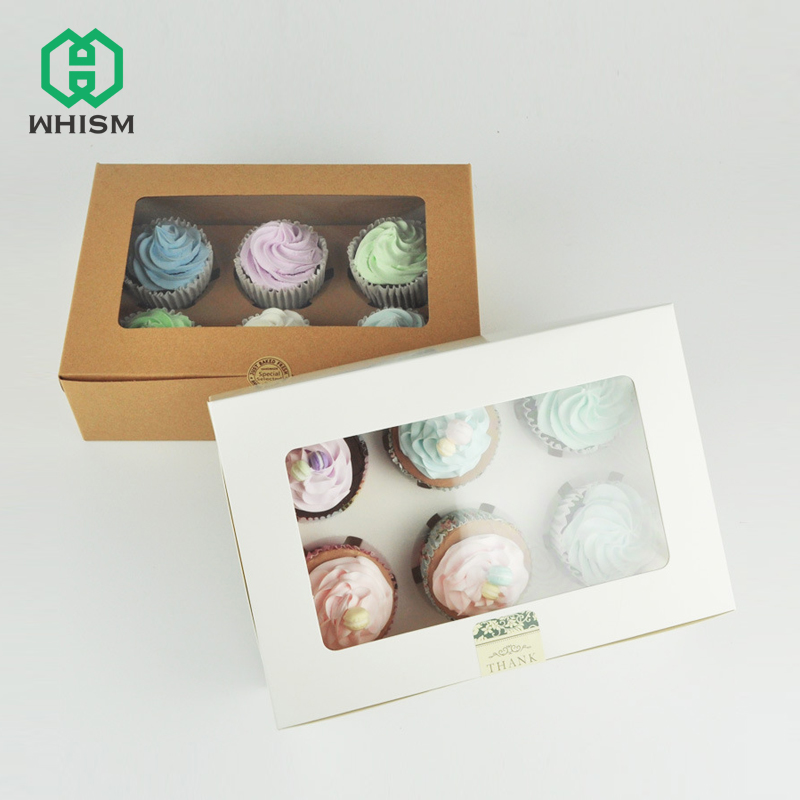 WHISM 2/4/6 Holes Cupcake Muffin Box With Window Kraft Paper Boxes Dessert Macaron Cookies Candy Snack Packing For Gift Party