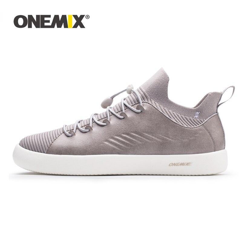 ONEMIX Couple chaussures hommes baskets en cuir mocassins décontractés 2019 classique noir Style britannique tricoté maille unisexe skateboard chaussures