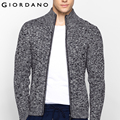 Giordano Men Sweater Stand Collar Long Sleeves Cardigan Zipper Sweaters Cotton Blending Sueter Outerwear Hombre Masculina